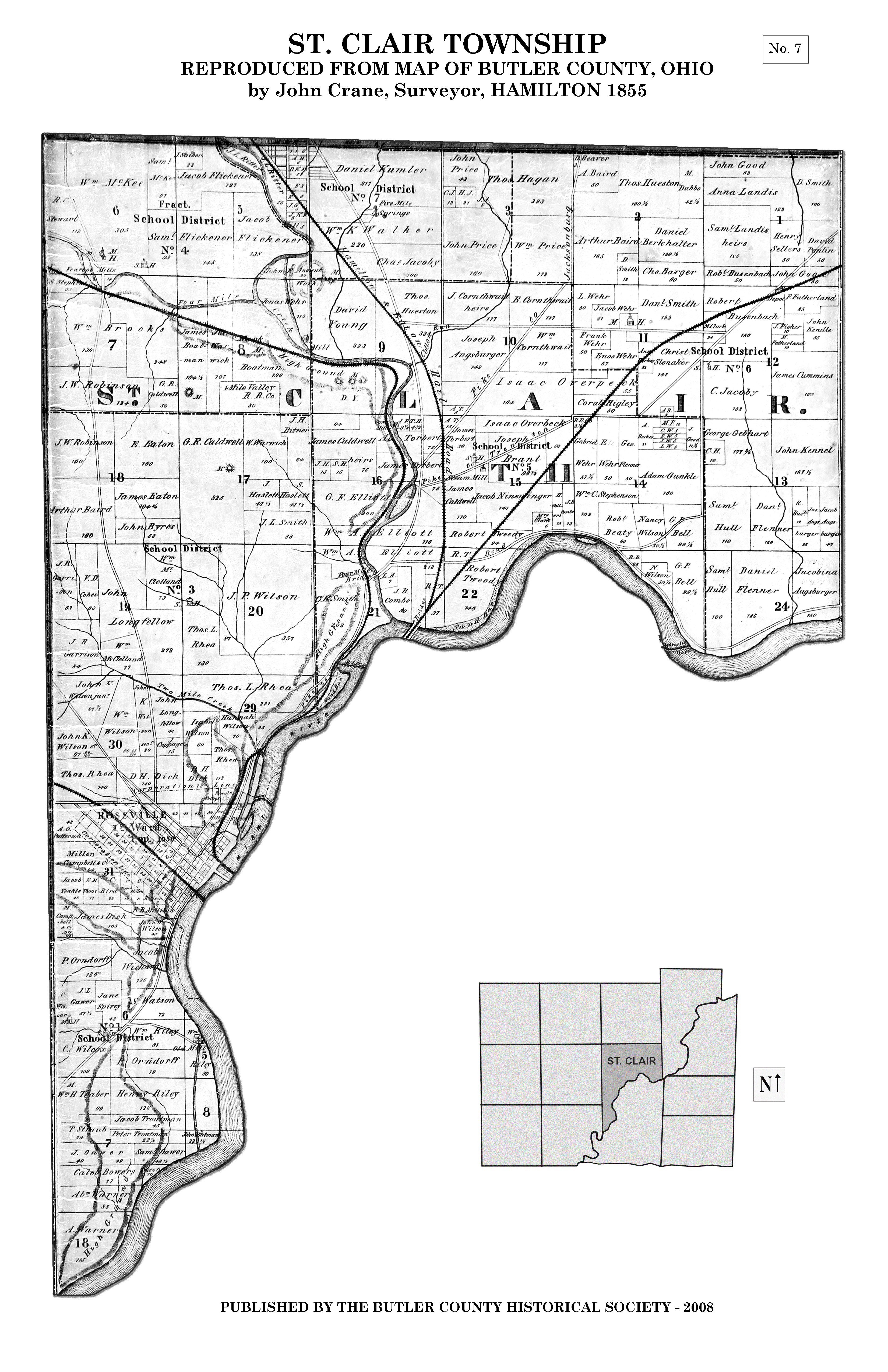 1855 Map Of Butler County Butler County Historical Society